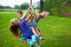 Children having fun with flying fox Royalty Free Stock Photo