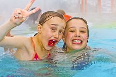 Free Children Having Fun In The Outdoor Thermal Pool Stock Image - 154859391