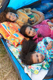 Children Having Fun Inside Tent On Camping Holiday. Smiling At Camera Stock Images