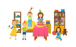 Children having fun in living room on a holiday evening. Stock Photography