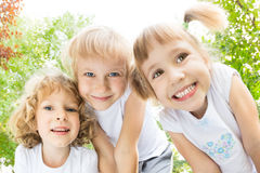 Children having fun outdoors Stock Photo