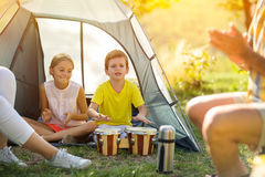 Children having fun playing in the tent Royalty Free Stock Images