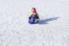 Children having fun on sled Stock Photography