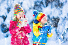 Children having fun in snowy winter park Royalty Free Stock Photos