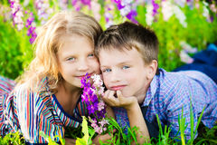 Children having fun at summer day Stock Images