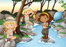 Children having fun at the waterfall Stock Photos