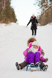 Children having fun in winter park. Royalty Free Stock Photo