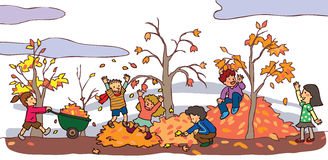 Children having a good time in autumn landscape (v Stock Image
