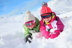 Children having good time on winter holidays Royalty Free Stock Photo