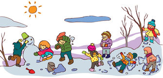 Children having a good time in winter landscape (v. Children having a good time in winter landscape with snow, create by vector Stock Images