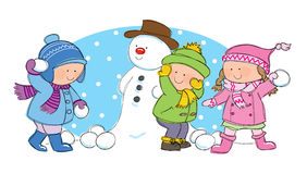 Children having snowball fight. Hand drawn picture of children having a snowball fight in winter scene, illustrated in a loose style. Vector eps available Royalty Free Stock Photos
