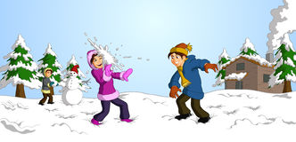 Children having snowball fight. Illustration of happy children dressed in colorful winter clothes having snowball fight  with background including snowman, cabin Stock Photos