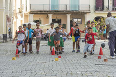 Children having sports lesson Havana Royalty Free Stock Images
