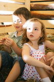 Children on Hayloft Royalty Free Stock Image