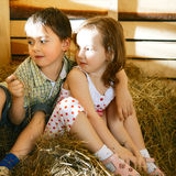 Children on Hayloft Stock Photo