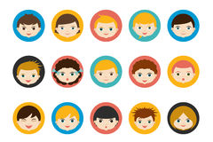 Children heads, avatar. Color flat vector. Royalty Free Stock Photo