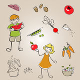 Children with healthy food Royalty Free Stock Photo