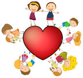 Children and heart Stock Photos