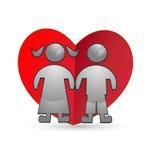 Children and heart silhouettes logo stock illustration