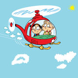 Children in a helicopter Stock Images