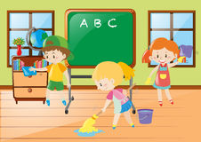 Children help cleaning classroom. Illustration Royalty Free Stock Photo
