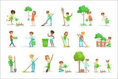 Children Helping In Eco-Friendly Gardening, Planting Trees, Cleaning Up Outdoors, Recycling The Garbage And Watering. Sprouts. Happy Kids Interacting With vector illustration