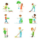 Children Helping In Eco-Friendly Gardening, Planting Trees, Cleaning Up Outdoors, Recycling The Garbage And Watering Royalty Free Stock Images