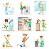 Children Helping With Home Cleanup, Washing The Floor, Throwing Out Garbage, Washing Windows And Mirror. Kids Cleaning Indoors With Clean-Up Inventory For Royalty Free Stock Images