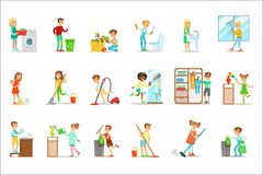 Children Helping With Home Cleanup, Washing The Floor, Throwing Out Garbage And Watering Plants. Kids Cleaning Indoors With Clean-Up Inventory For Housekeeping royalty free illustration