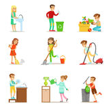 Children Helping With Home Cleanup, Washing The Floor, Throwing Out Garbage And Watering Plants. Kids Cleaning Indoors With Clean-Up Inventory For Housekeeping vector illustration