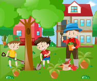 Children helping out in the garden. Illustration royalty free illustration
