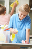 Children Helping to Clean House Stock Photo