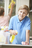 Children Helping to Clean House Royalty Free Stock Image