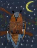 Children& x27 ; hibou menaçant en pastel de couleur de dessin de s illustration stock