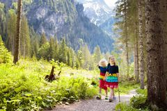 Children hiking in the Alps mountains. Kids play in sunny forest at snow covered mountain in Austria. Spring family vacation. Little boy and girl on scenic Royalty Free Stock Photography