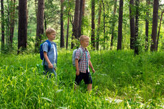 Children hiking outdoor Royalty Free Stock Image