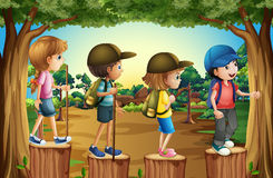 Children hiking in the woods. Illustration Stock Images