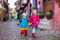 Children in historical city center in France Royalty Free Stock Photos