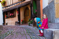 Children in historical city center in France Stock Image