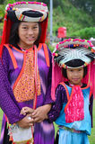 Children Hmong People waiting service the traveler for take photo with them. Children Hmong People at Doi Kiew Lom waiting service the traveler for take photo Royalty Free Stock Images
