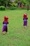 Children Hmong People waiting service the traveler for take photo with them Stock Photo