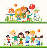 Children hobbies and activities - flat design characters compositions set Stock Images