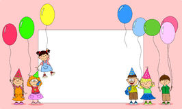 Children hold balloons, greeting card vector Stock Images