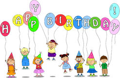 Children hold balloons vector Stock Images