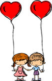 Children hold the balloons,vector Stock Photography