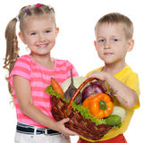 Children hold a basket with vegetables. Two smiling children hold a basket with vegetables stock image