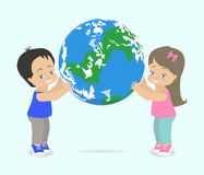 Children hold planet Earth. Vector illustration stock illustration