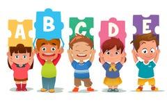 Children Holding Alphabet Puzzle Cards Stock Image