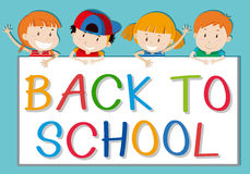 Children holding back to school sign Royalty Free Stock Photos