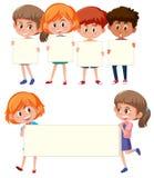 Children holding the balank banner vector illustration